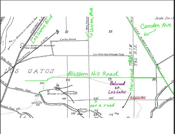 Old Los Gatos map showing location of oil well in Belwood neighborhood