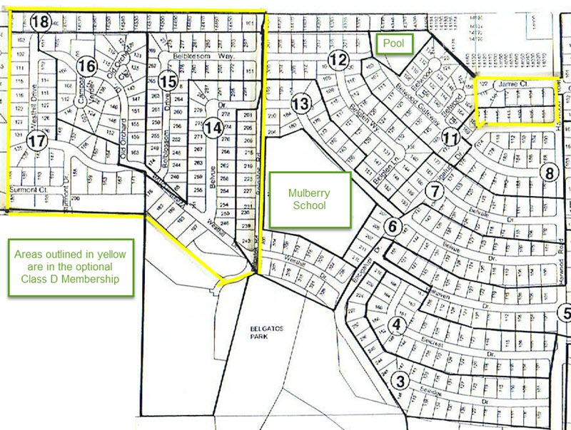 Belwood of Los Gatos HOA membership and Class D Map areas