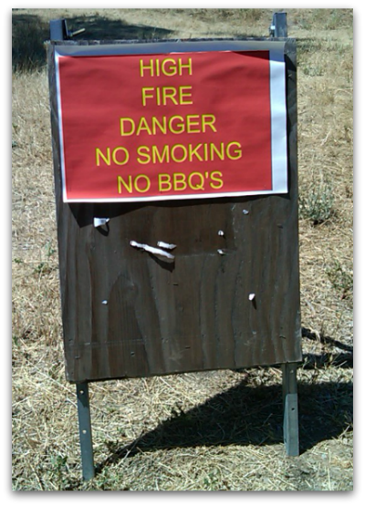 Fire warning sign at Belgatos Park