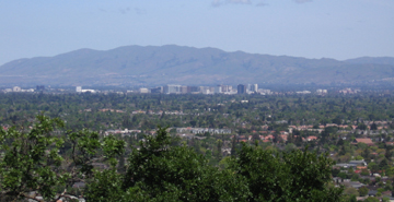 View of downtown San Jose from near the top of Harwood Road and Belgatos Park - Harwood Road in east Los Gatos is a meridian