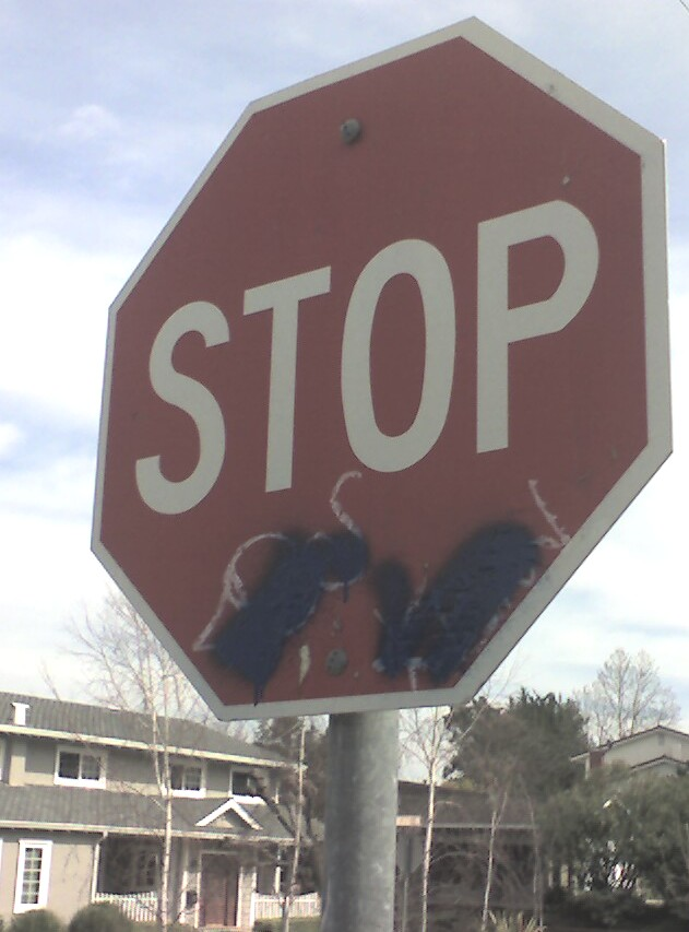 graffitti on stop sign - Graffitti in Belwood and Belgatos area? Unfortunately, yes. Report it!