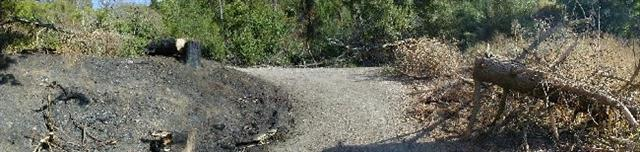 Heintz fire panorama Custom - Heintz Open Space Preserve in East Los Gatos has small brush fire