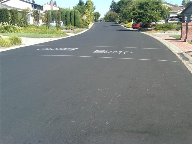Speed bump  on Belwood Gateway between Bacigalupi Drive and Harwood Road in Los Gatos