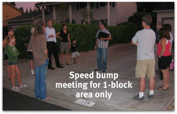 Speed hump meeting on Belwood Gateway