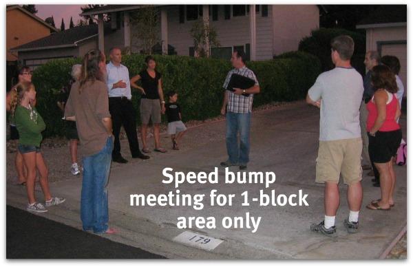 Speed hump meeting on Belwood Gateway