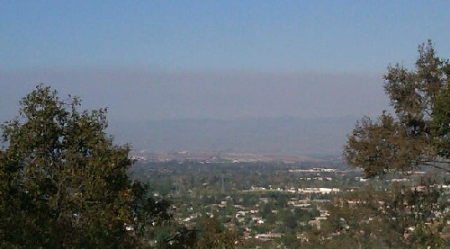 Controlled burn east of Morgan Hill on Oct 18 2011 created smoggy skies in San Jose