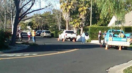 On Belblossom - Los Gatos Monte Sereno police, P G & E crew, neighbors