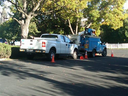 P, G & E Trucks parked on Westhill Drive, Los Gatos