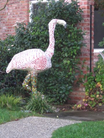 Flamingo mosaic created by Belwood of Los Gatos resident April Maiten