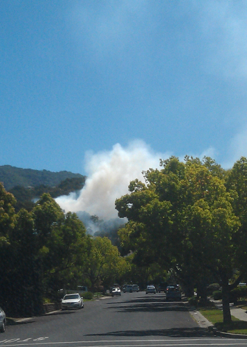 Fire in Belgatos Park near side entrance on Bacigalupi Drive.    Photo by Trish McCauley trish.mccauley@gmail.com