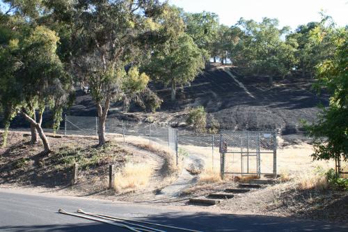 Belgatos Park, Los Gatos,  Fire July 23 2012 - scorched grassy area by Bacigalupi Drive gate
