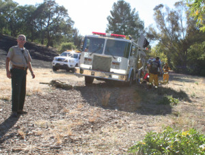 Ranger Dave Gray on the scene at the Belgatos Park, Los Gatos,  fire cleanup