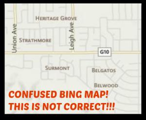 Bing map of east Los Gatos neighborhoods is largely wrong