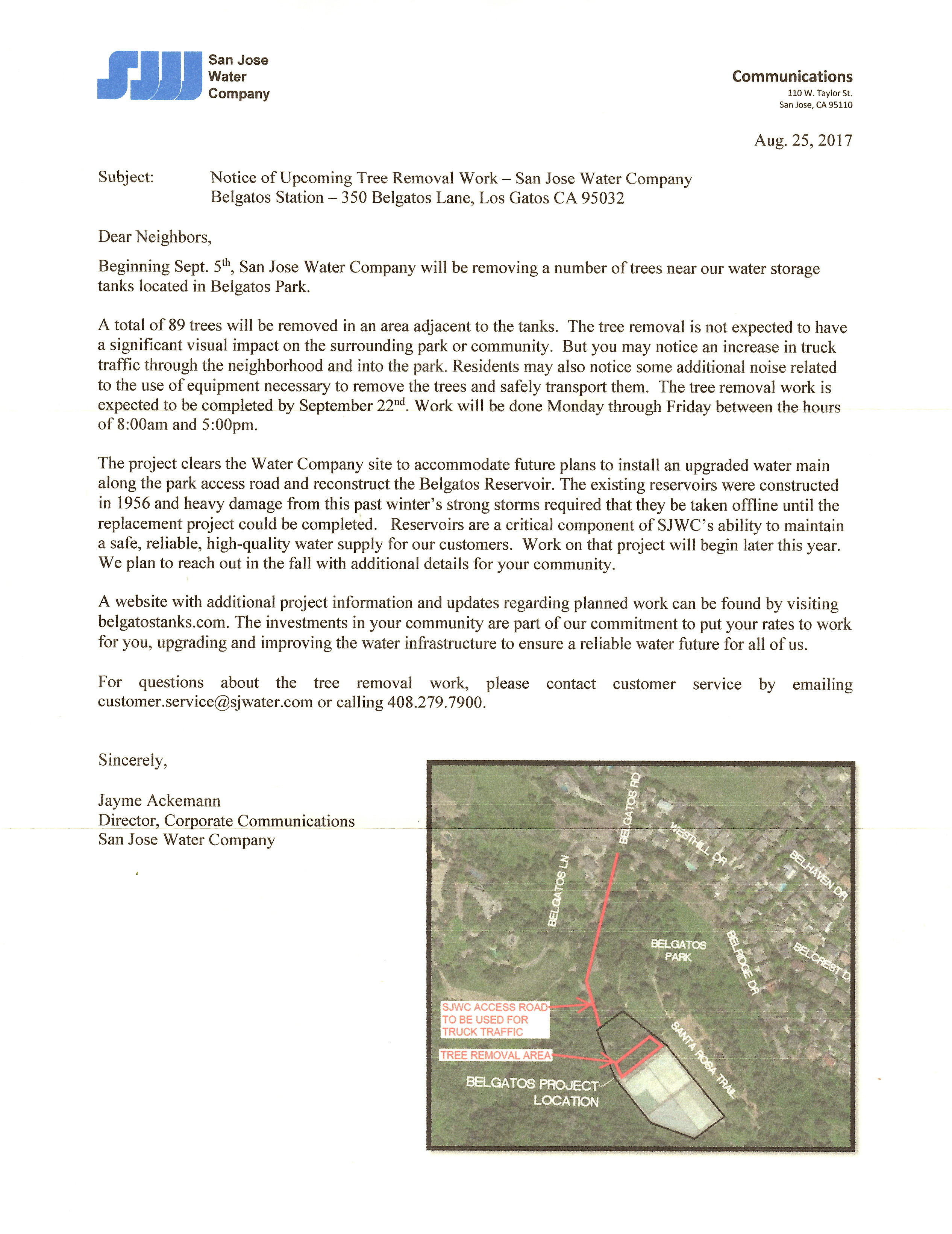 San Jose Water District letter regarding tree removal and work at the reservoir in Belgatos Park