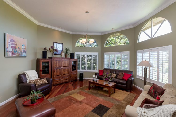 211 Westhill Drive - unique living room with octoganal shape, high ceilings, wood burning fireplace